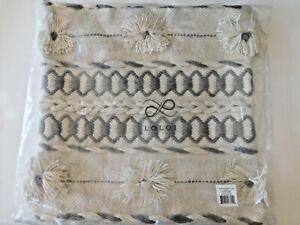 LOLOI Textured Blend Pillow Cover Zip Natural / Grey 18x18 New