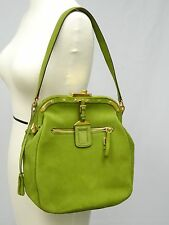 "AUTHENTIC PRADA GREEN SUEDE HANDBAG with BRASS FITTINGS & LOCK ~ 11""L x 11"" H"