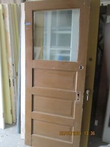 VINTAGE INTERIOR DOOR WITH  GLASS HORIZONTAL PANELS STAINED 32 X 79 CAN SHIP
