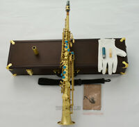 Professional Brushed Brass Soprano Saxophone Bb Mark VI Type Straight Sax w/case