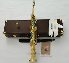 Professional Brushed Brass Soprano Saxophone Bb Mark VI Type Straight Sax w/case
