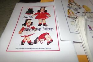 Lot 23 Dolls & Doll Clothes Pattern Little LuLu Christmas  Bride State Dolls
