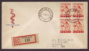 d7675/ Norway Hvittingfoss 4-Block Registered FDC Cover t/USA 1953