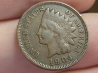 1904 Indian Head Cent Penny, VF/XF Details, Full Rims