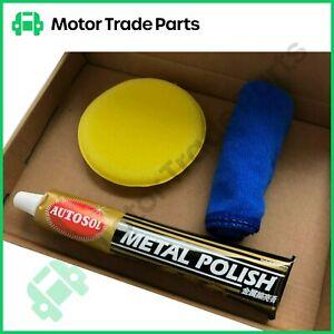 Metal Buffing Kit Chrome Polish Aluminium Chrome Brass Steel Autosol Solvo