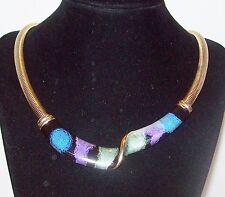 Vtg 1970's Disco Enamel Bib Necklace Omega Chain Collar Purple Blue Aqua Black