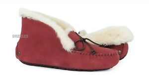UGG Alena Spice Red Suede Fur Slippers Womens Size 8 *NIB*
