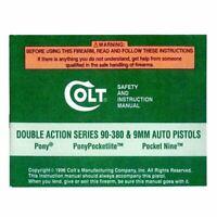 Colt Double Action Series 90-380 & 9MM Auto Pistols Manual