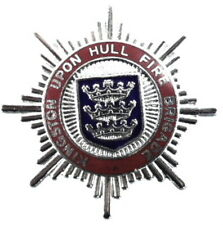 Kingston Upon Hull Fire Brigade Chrome/Enamel Cap Badge