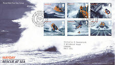 13 MARZO 2008 SOS SOCCORSO in Mare ROYAL MAIL FIRST DAY COVER Poole Dorset SHS