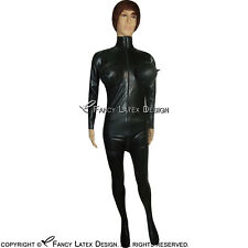 Black Latex Catsuit With Feet Socks And Inflatable Breasts Rubber cat suit