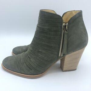 Paul Green Womens Malibu Sliced Ankle Boots Block Heel Zip Green Suede Sz 4