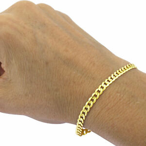 """Genuine 10K Real Yellow Gold 2.5mm-11mm Cuban Curb Link Chain Bracelet 7"""" 8"""" 9"""""""
