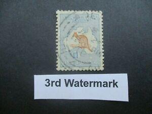 Kangaroo Stamps: £1  Blue & Brown 3rd Watermark Adelaide JA 29/18 CANCEL (-)