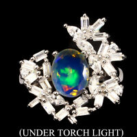 Oval 9x7mm Hot Rainbow Fire Opal Unheated White Cz 925 Sterling Silver Ring Sz 8