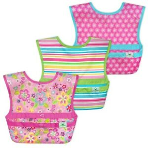 Green Sprouts Snap & Go Easy Wear Baby Bibs (3 Pack) Pink Flower Field Prints