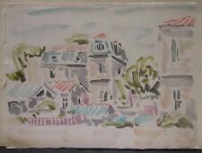 "Dessin Original Aquarelle André FILDIER (1928-2001)  ""Village"" - F16"