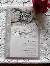 Glückwunschkarte Diamant Hochzeit 60 Herzen Rose Diamantherz Spruch