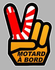 MOTARD A BORD MAIN VICTORY HAND JAPON 12x9cm AUTOCOLLANT/STICKER - MOTO(MA167)