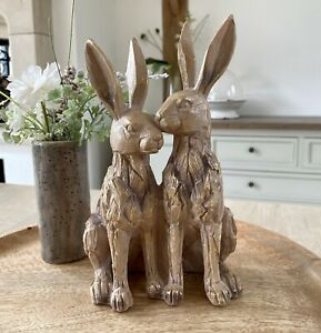 Driftwood Effect Carved Sitting Duo Hare Bunny Wood Effect Home Ornament Gift