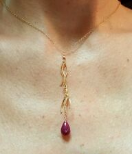3ct Ruby briolette 14k gold wave twist tassel  necklace pendant
