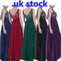 UK Women Adult Bridesmaid Long Dress Wedding Ball Prom Formal Evening Party Gown