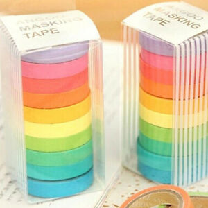 10 x Colorful Candy Masking Tape Mini Set Colour Box 8MM Washi Deco Sticky #JP
