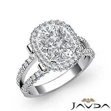 Cushion Diamond Engagement Beautiful Pave Ring EGL F VS1 14k White Gold 2.53 ct