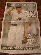 MARIANO RIVERA 602 SAVES DAILY NEWS NEWSPAPER NY YANKEES 9/20/11 ALL TIME RECORD