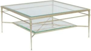 COCKTAIL TABLE  ANTIQUE PATINA FINISH GLASS BEVELED SQUARE WB-574