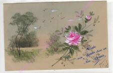 CPA CELLULOID Paysage fleur rose toute une amitié dans un bon baiser ca1909