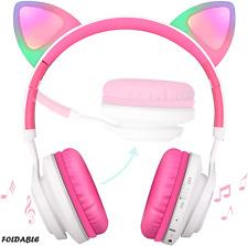 Girls Bluetooth Headphones Pink Cat Ear Light Up Wireless Headset Android Apple
