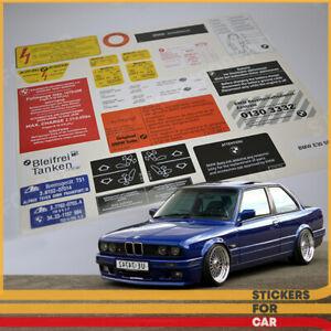 BMW E30 - 24 DECALS STICKERS SET RESTORATION AUFKLEBER + Instructions !!