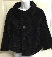 Patagonia Girls' Pelage Jacket Black Faux Fur Fuzzy Jacket Coat sz M 10 - Eeuc