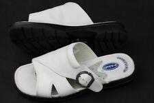 Womens Dr. Scholl's slip on sandals white leather upper nurse CNA 7.5 wide