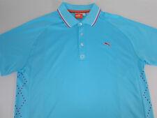 Puma Sport Mens S/S Lightweight Aqua Blue Polo Golf Shirt Large