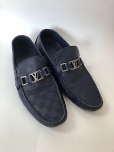 LOUIS VUITTON MOCCASIN DRIVING SHOES BLUE SUEDE 10.5US 44.5 ND0147