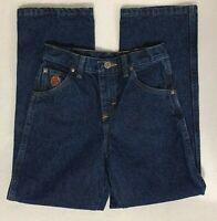 Wrangler 20X Boys Denim Blue Jeans Size 10 Reg Straight Leg Zip Front Adj Waist