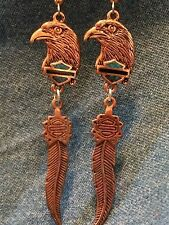 Copper HD Eagle Head/ Shield & Feather Earrings * biker* harley* motorcycle