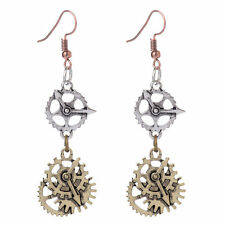 Lady Vintage Silver&Bronze Watch mechanical Gear Steampunk alloy Dangle Earrings