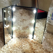 Foldable Square Shape Makeup Tri-sided Portable Lighted LED Beauty Vanity Mirror