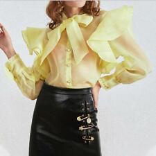 Womens Chic Organza Bowtie Falbala Puff Sleeve See Through Shirt Blouse Top SKGB