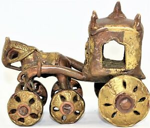 Indian Brass Bronze Devotional Shrine Temple Pull Toy Horse & Carriage