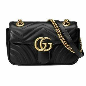 Gucci GG Crossbody Marmont Calfskin Matelasse Small Black Leather Shoulder Bag