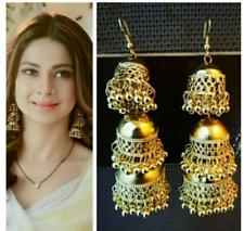 Indian Ethnic Bollywood Golden Oxidised Padmavati 3 Layer Jhumka Jhumki Earrings