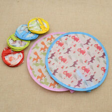 1 Pc Foldable Small Round Hand Fans Cooling Portable Frisbee Cute Color Random