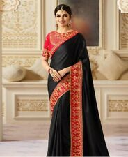 Brand New Black Women's Embroidered Party Silk Saree with Red Readymade Blouse