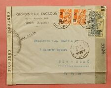 1944 FRENCH ALGERIA 15F ORAN AIRMAIL TO USA WWII CENSORED