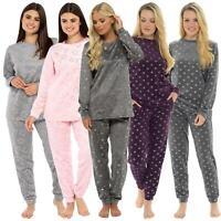 Womens Ladies Star Print Warm Pyjama Cosy Soft Fleece Nightwear Loungewear PJ