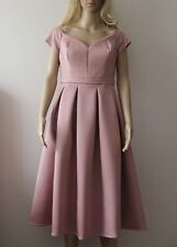 ASOS Ladies Satin Bardot Midi Prom Dress in Pink/Blush UK 12/EU 40/US 8
